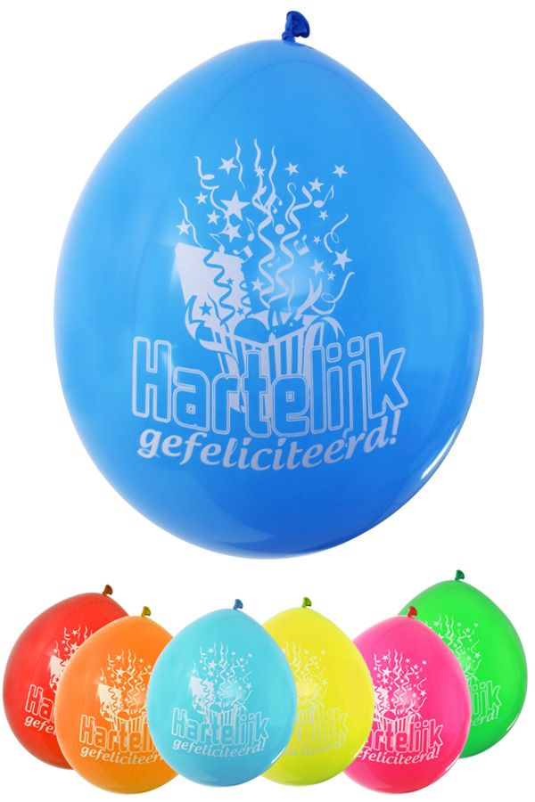 Ballonnen hartelijk gefeliciteerd per 8