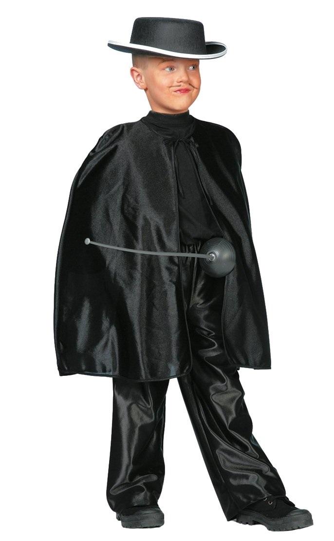 Zorro cape zwart kort voor kind