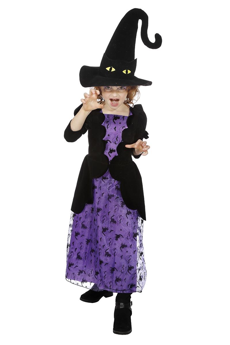 Heksenjurk Wicca paars met hoed voor kind