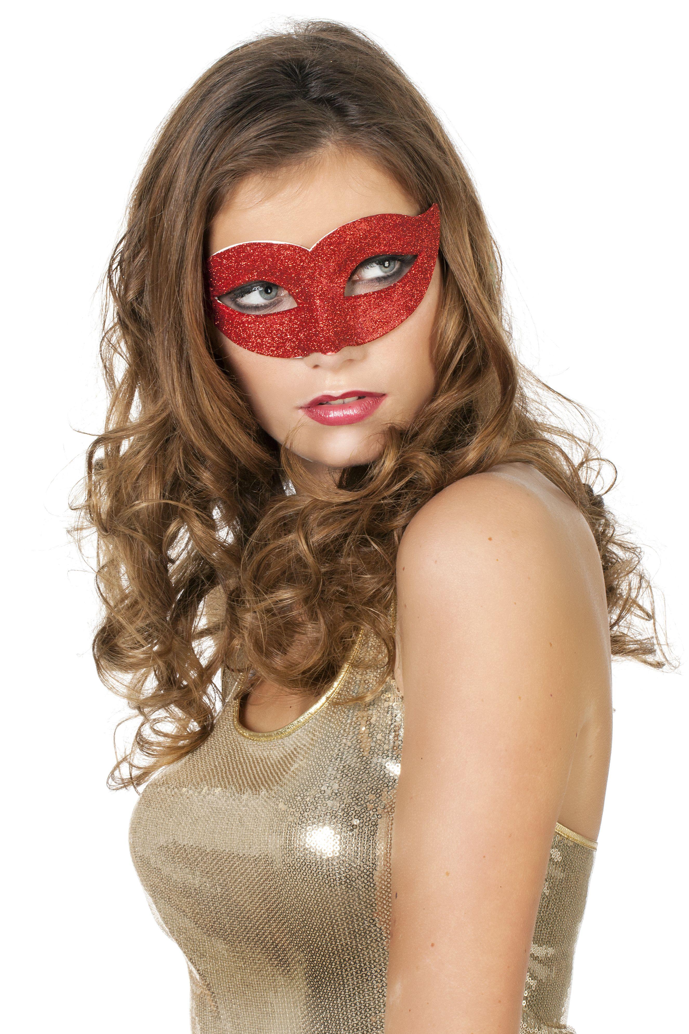 Masker eyes glitter rood