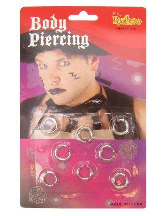 Piercings 8 stuks zilverkleurig