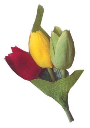 Broche 3 tulpen rood/geel/groen