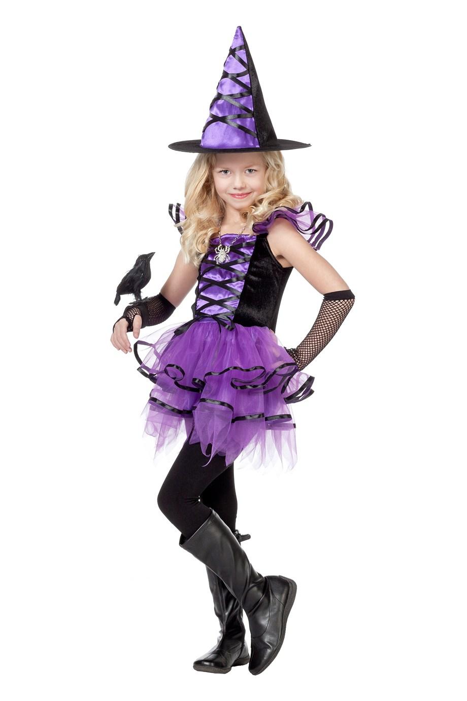 Heksenjurk paars/zwart voor meisje