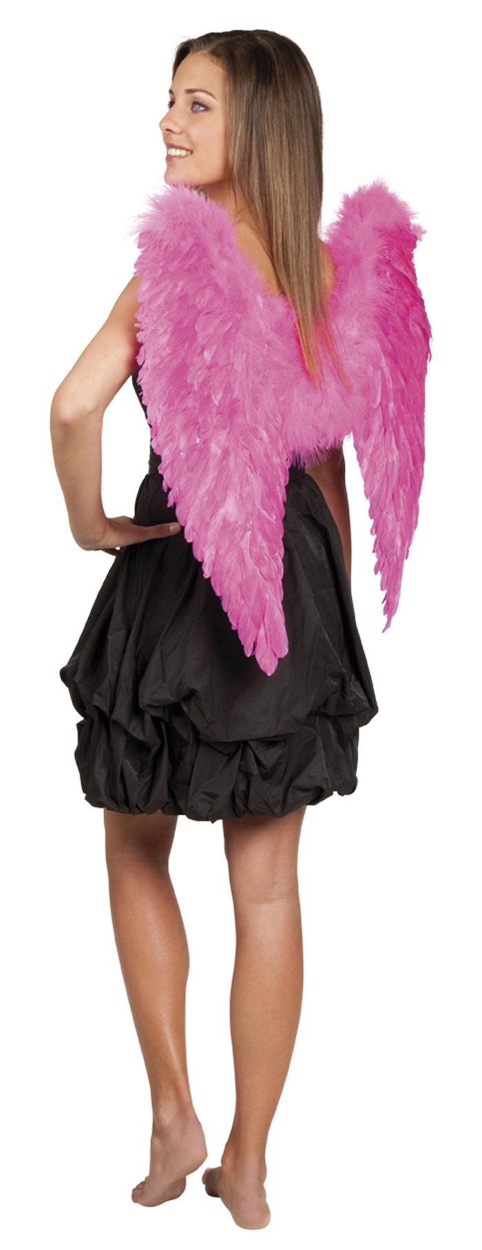 Engelen vleugels hardroze met veren volwassen