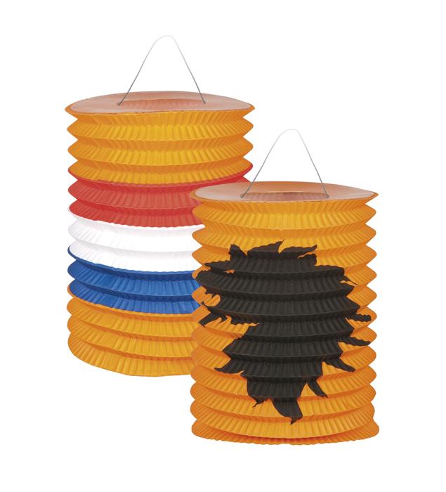 Lampions oranje met diverse prints set 2 stuks