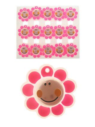 Broche smiley bloem transparant roze bloem knipperend per stuk