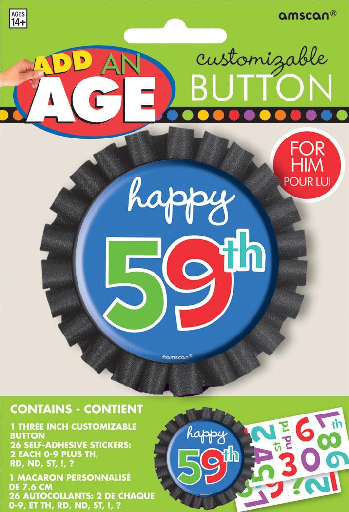 Button Birthday Stripes 8cm Personalise