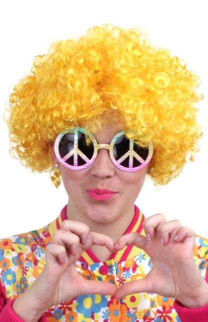 Budget hippy pruik geel