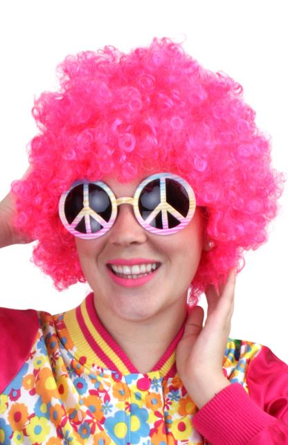 Budget hippy pruik neon pink