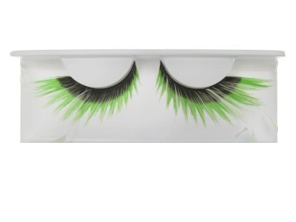 Wimpers zwart met fluor groene punten