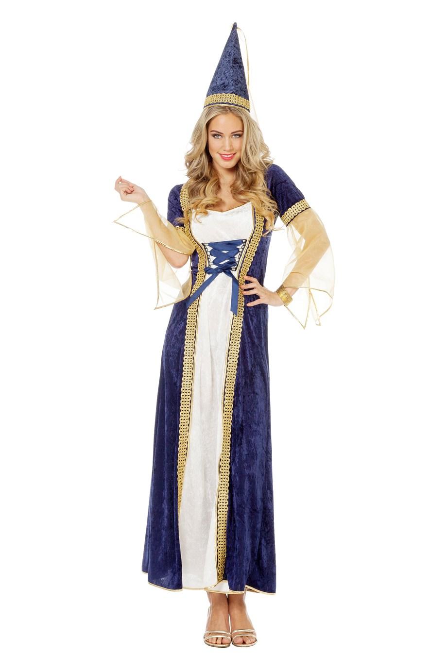 Burchtdame jurk blue voor volwassenen