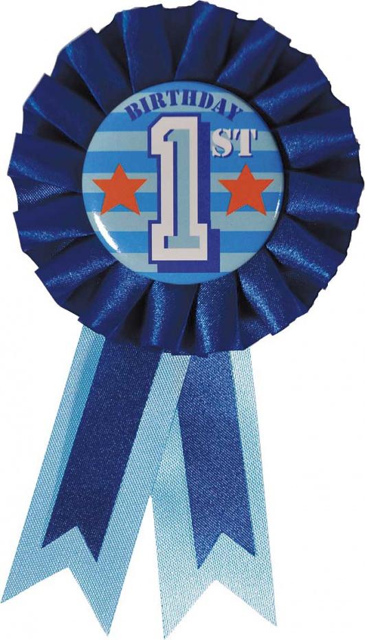 Rozet 1th. Birthday Blauw.