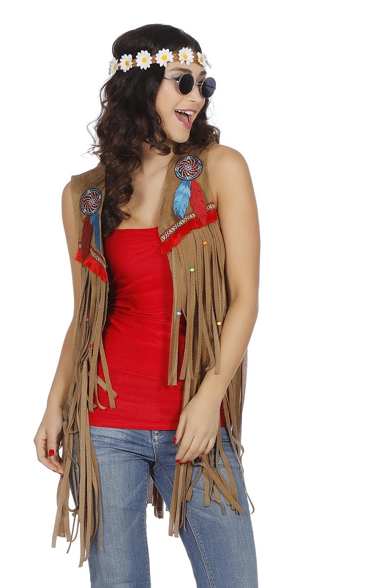 Uitgelezene Indianen of hippy vestje voor dame - Jaren 70 kleding VQ-34