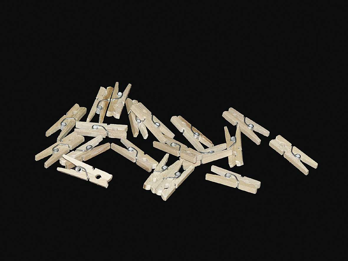 Mini wasknijpers naturel 200 stuks