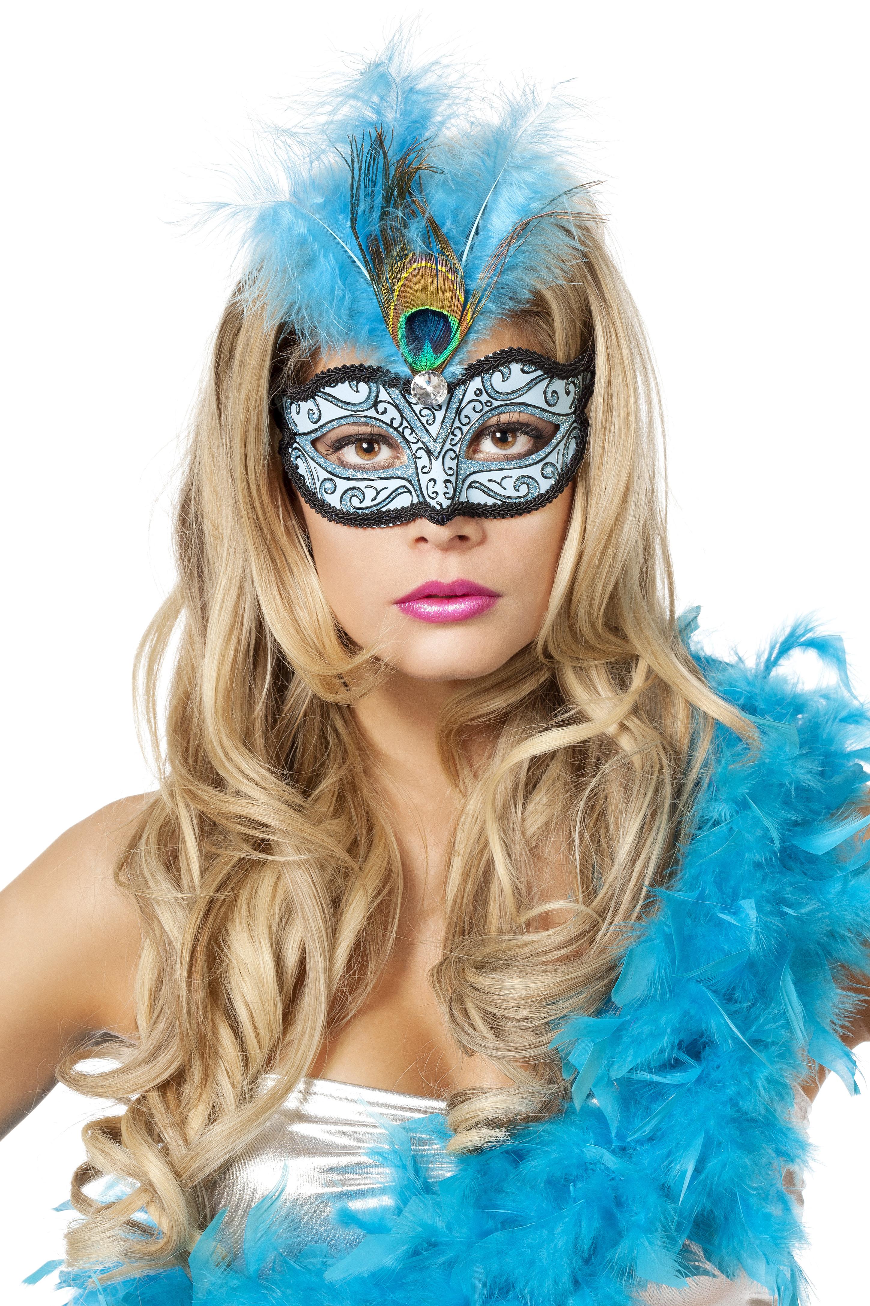 Venetiaans masker met pauwenveer aqua