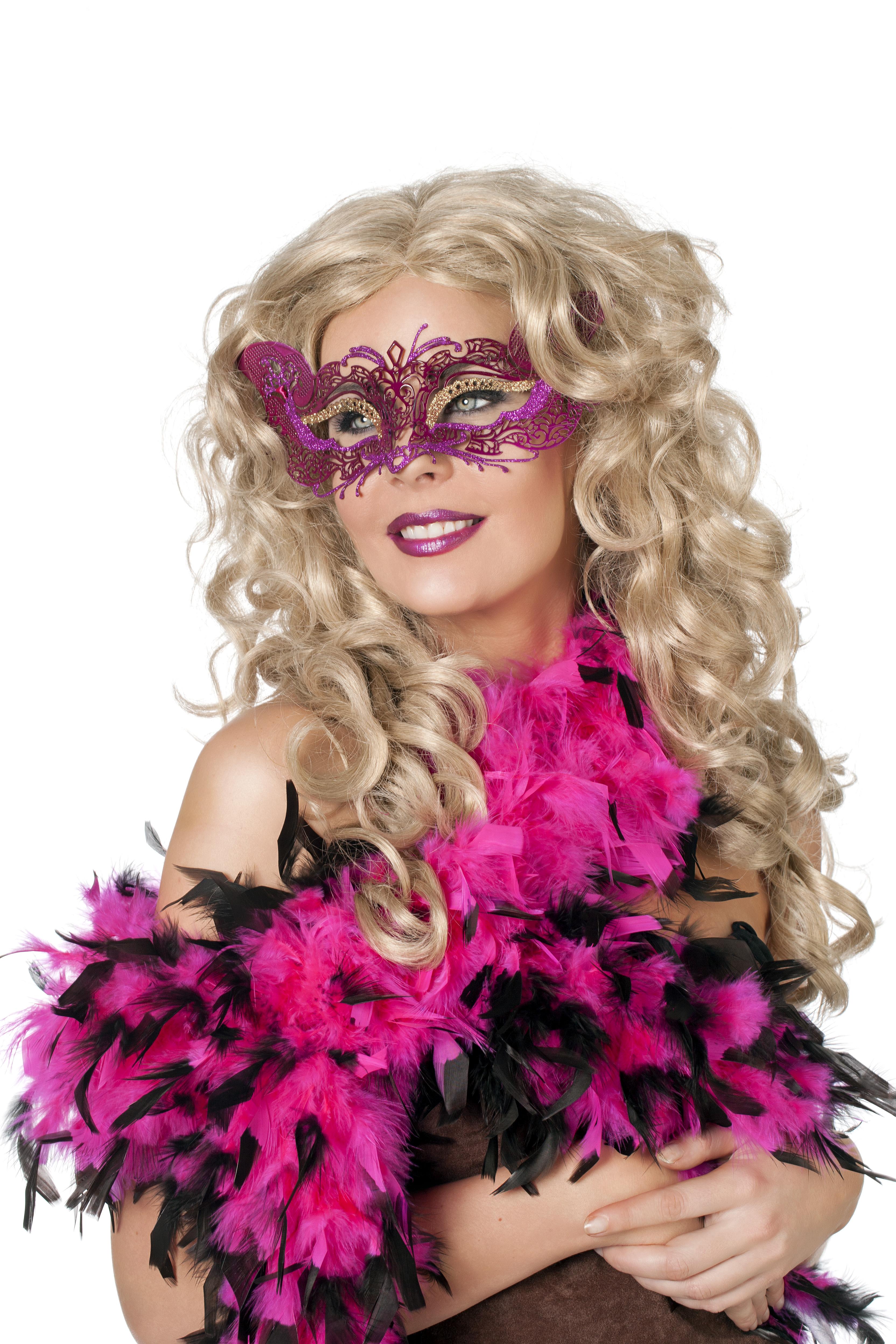 Venetiaans masker metaal rood/goud/pink