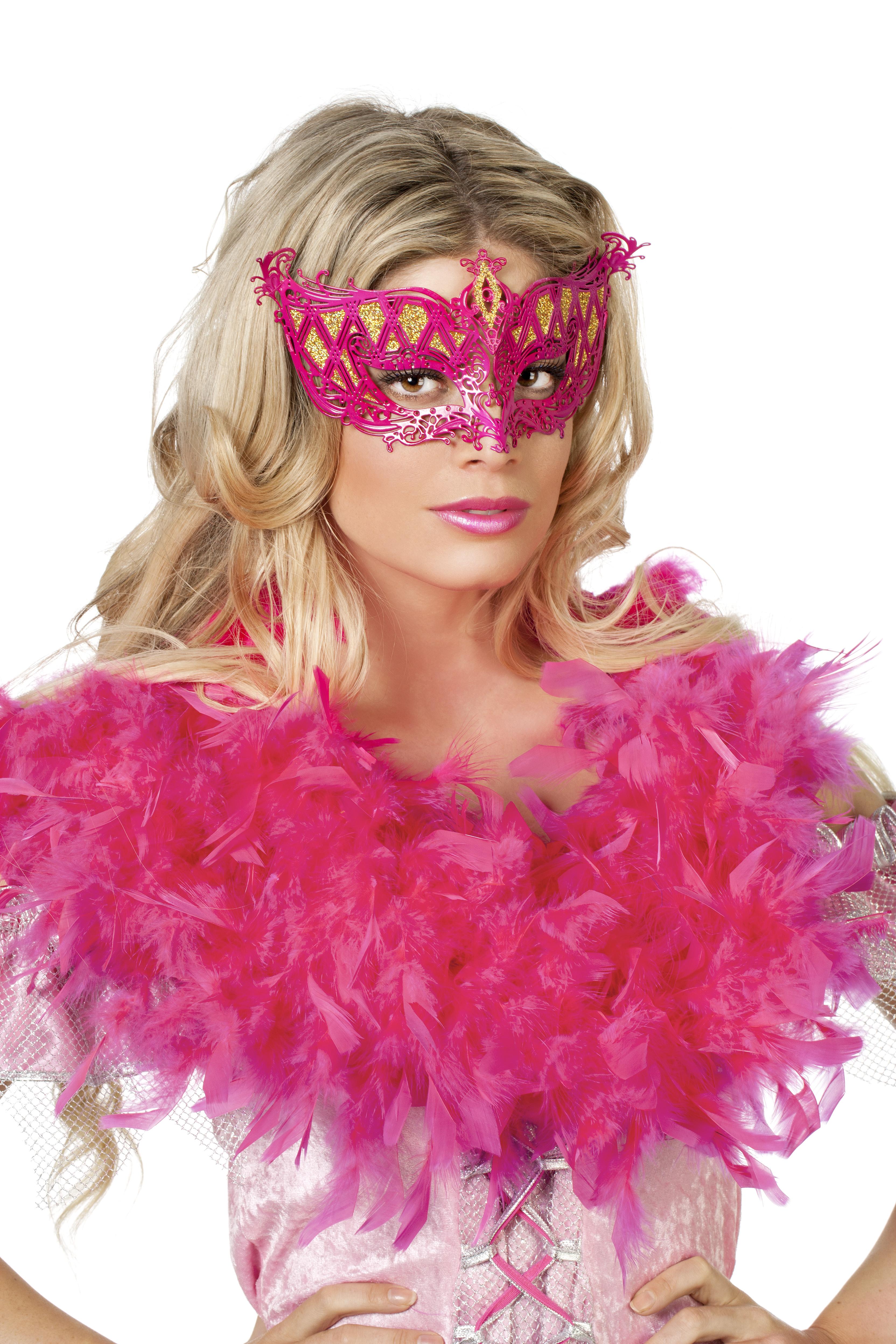 Venetiaans masker metaal pink/goud