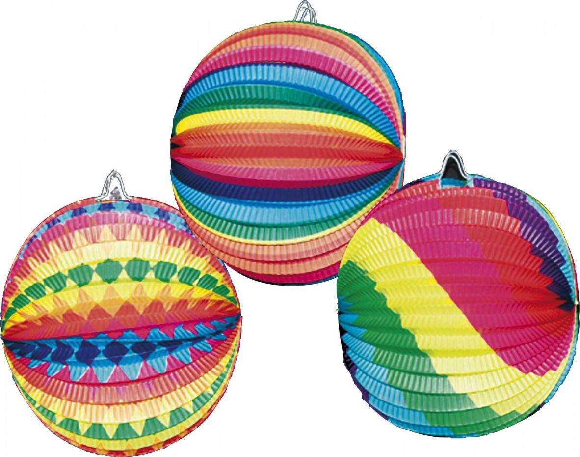 Lampion rond multicolor wordt per stuk in een assorti kleur geleverd