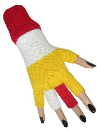 Handschoenen vingerloos gebreid rood/wit/geel