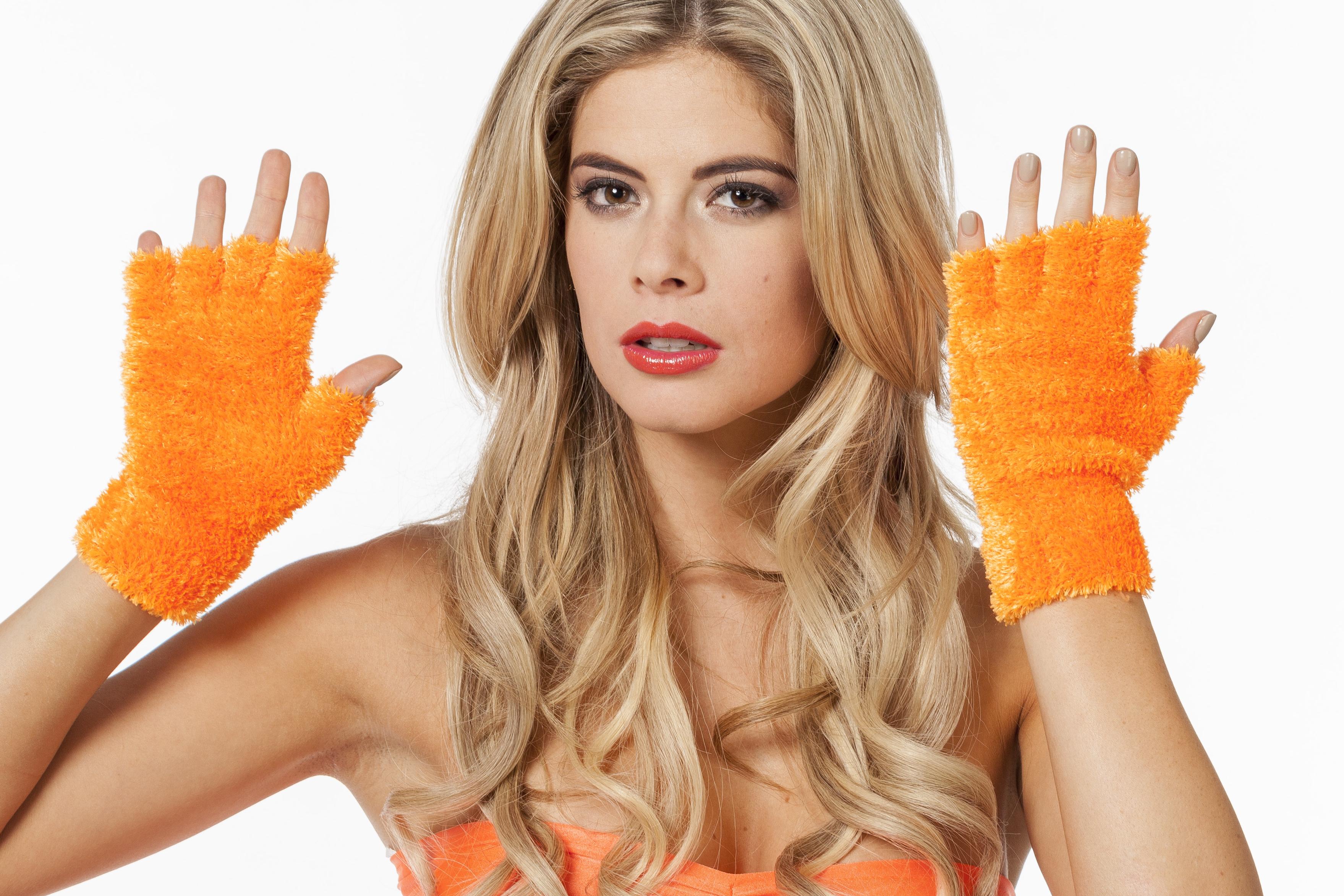 Vingerloze handschoenen pluche neon oranje