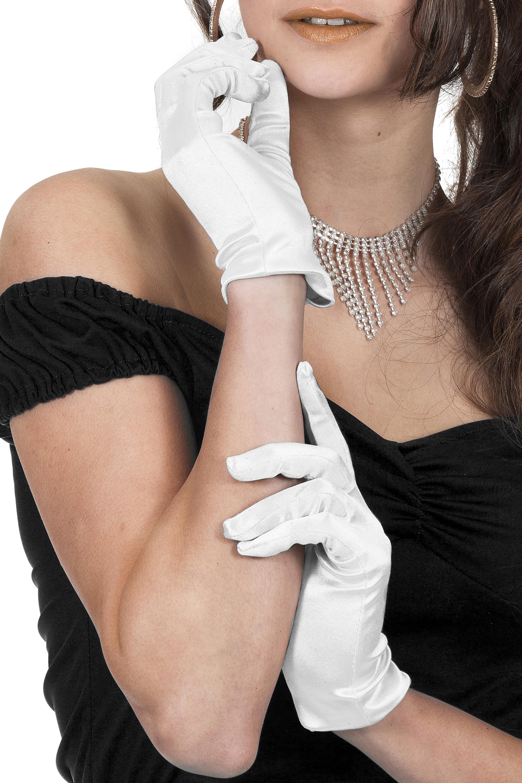 Gala hand schoen satijn 20cm wit