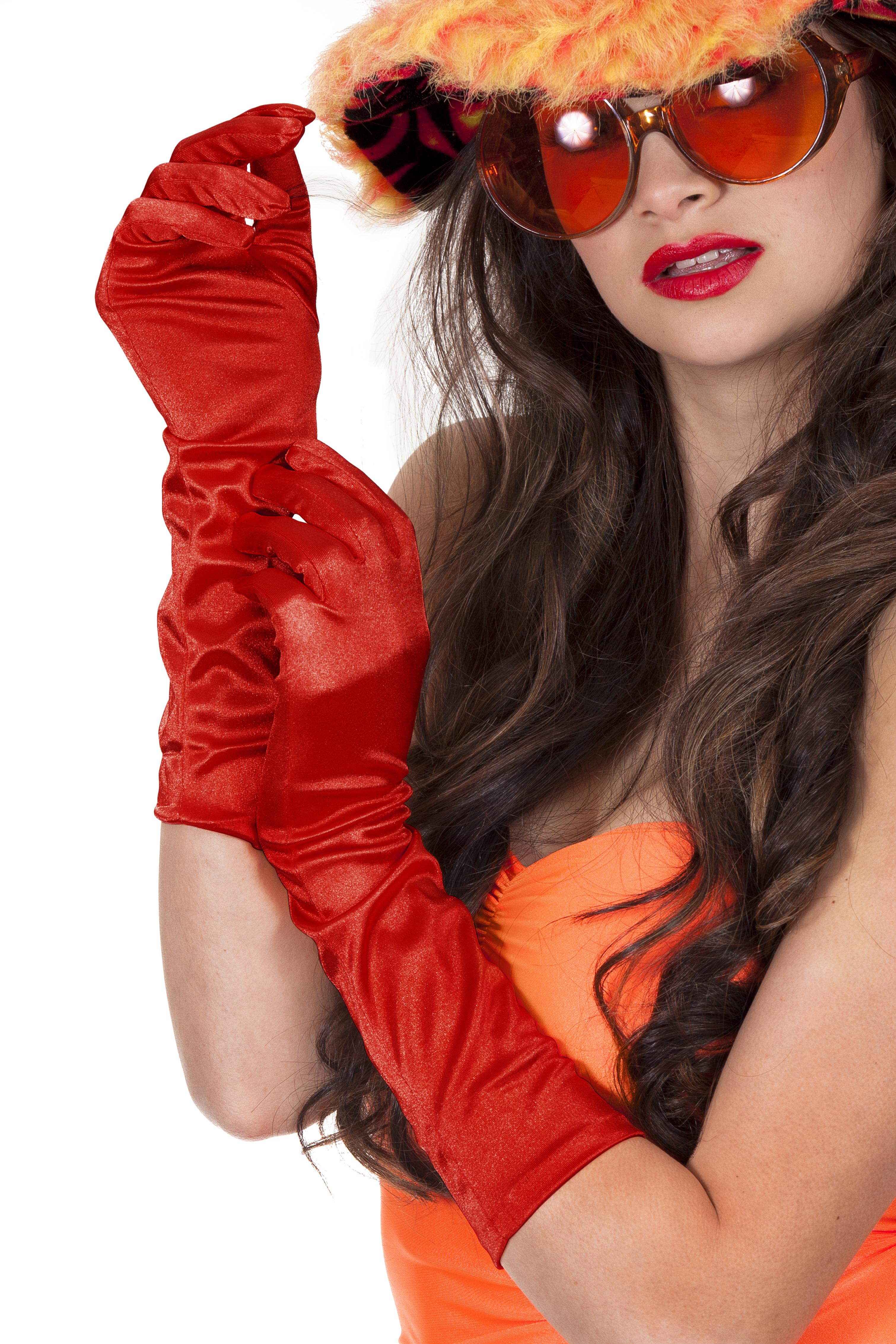 Gala hand schoenen satijn 40cm rood