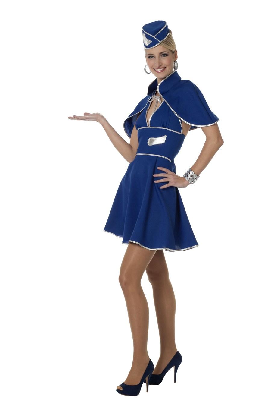 Stewardess kostuum voor dame licht blauw
