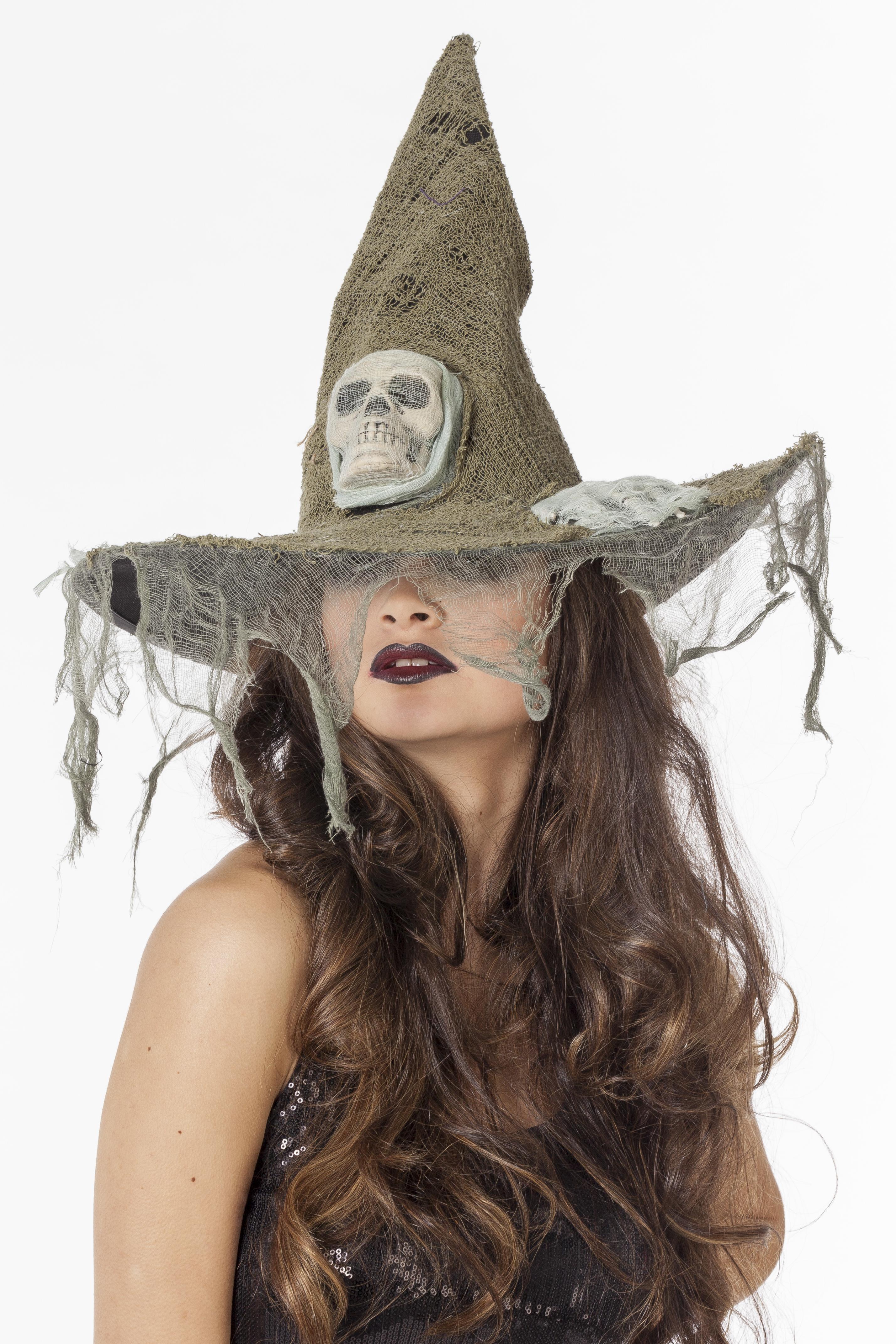 Heksen hoed met doodshoofd