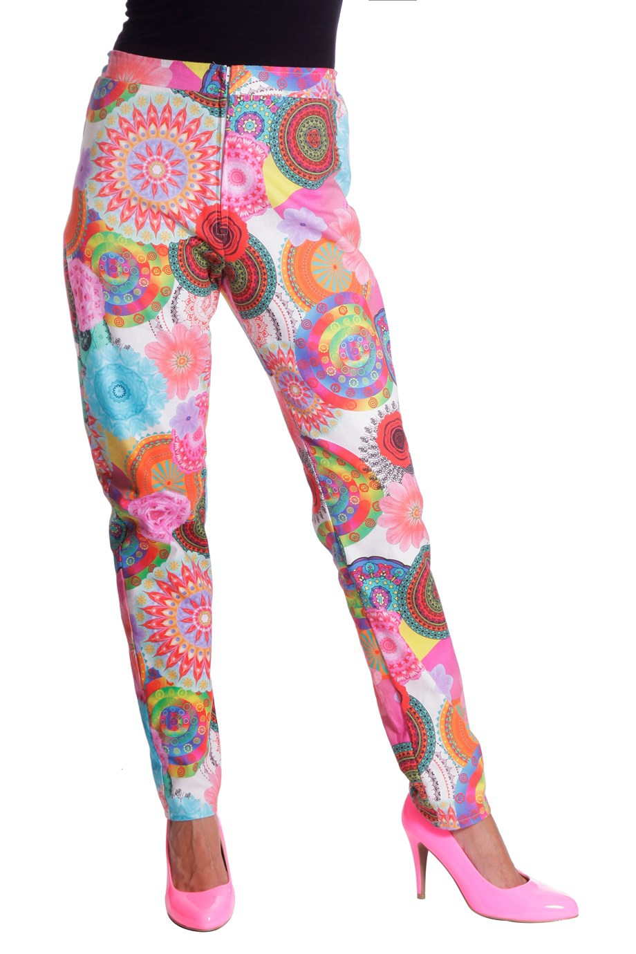 Broek multi hippie flower voor dame