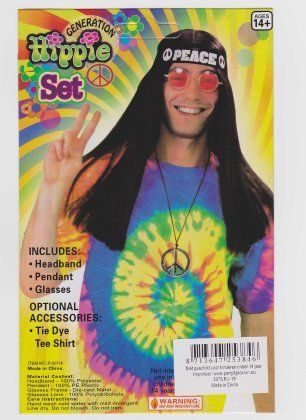 Hippieset bril/hoofdband/peaceketting