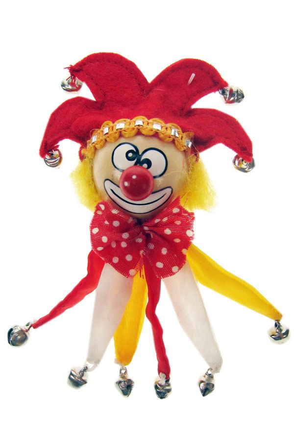 Broche clown rood/wit/geel