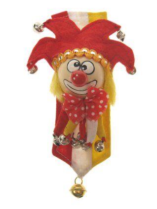 Broche clown rood/wit/geel met banner