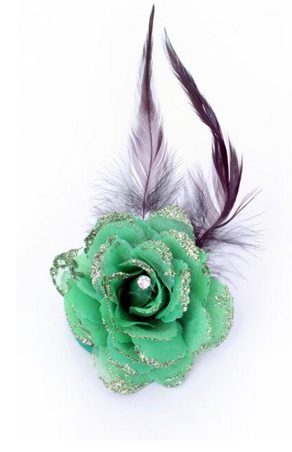 Bloem op speld/clip groen