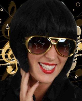 Elvis bril goud met bakkebaarden