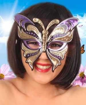 Oogmasker vinyl vlinder met pailletten paars/goud