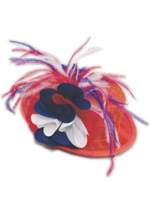 Minihoedje met haarklem oranje rood/wit/blauw