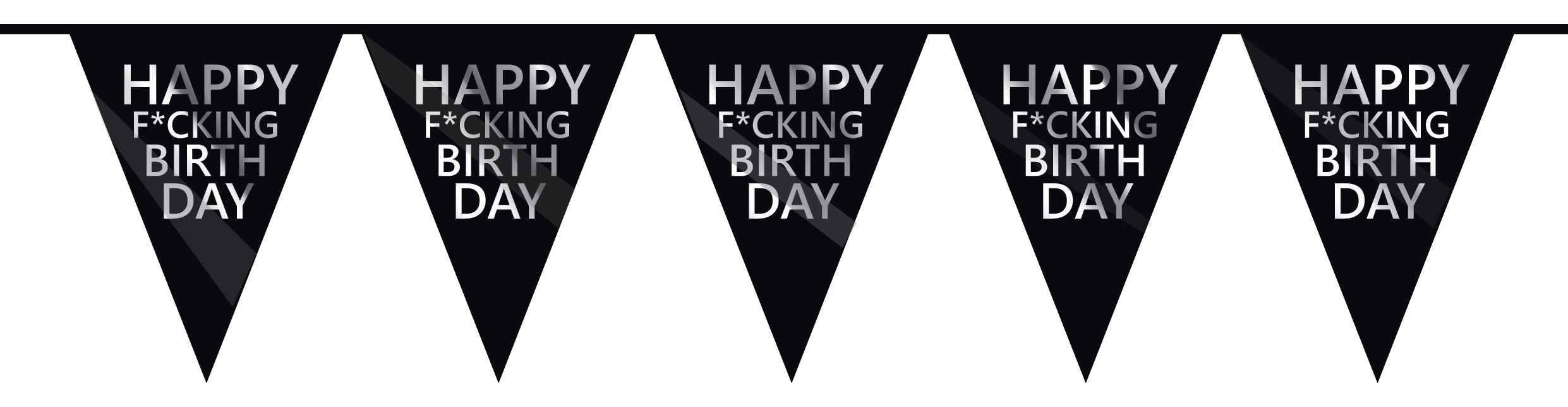 Vlaggenlijn zilver/zwart 6m happy f*cking birthday