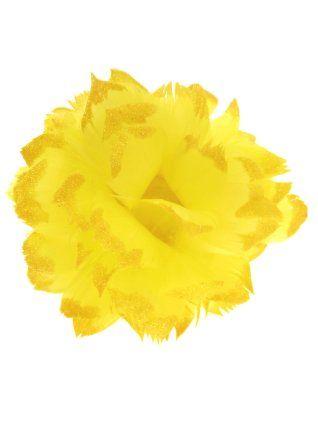 Bloem geel met glitter en ijzerdraad