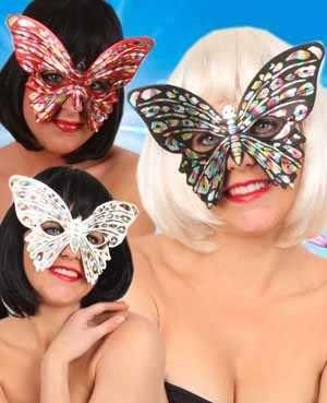 Oogmasker vlinder klein bont per stuk diverse kleuren