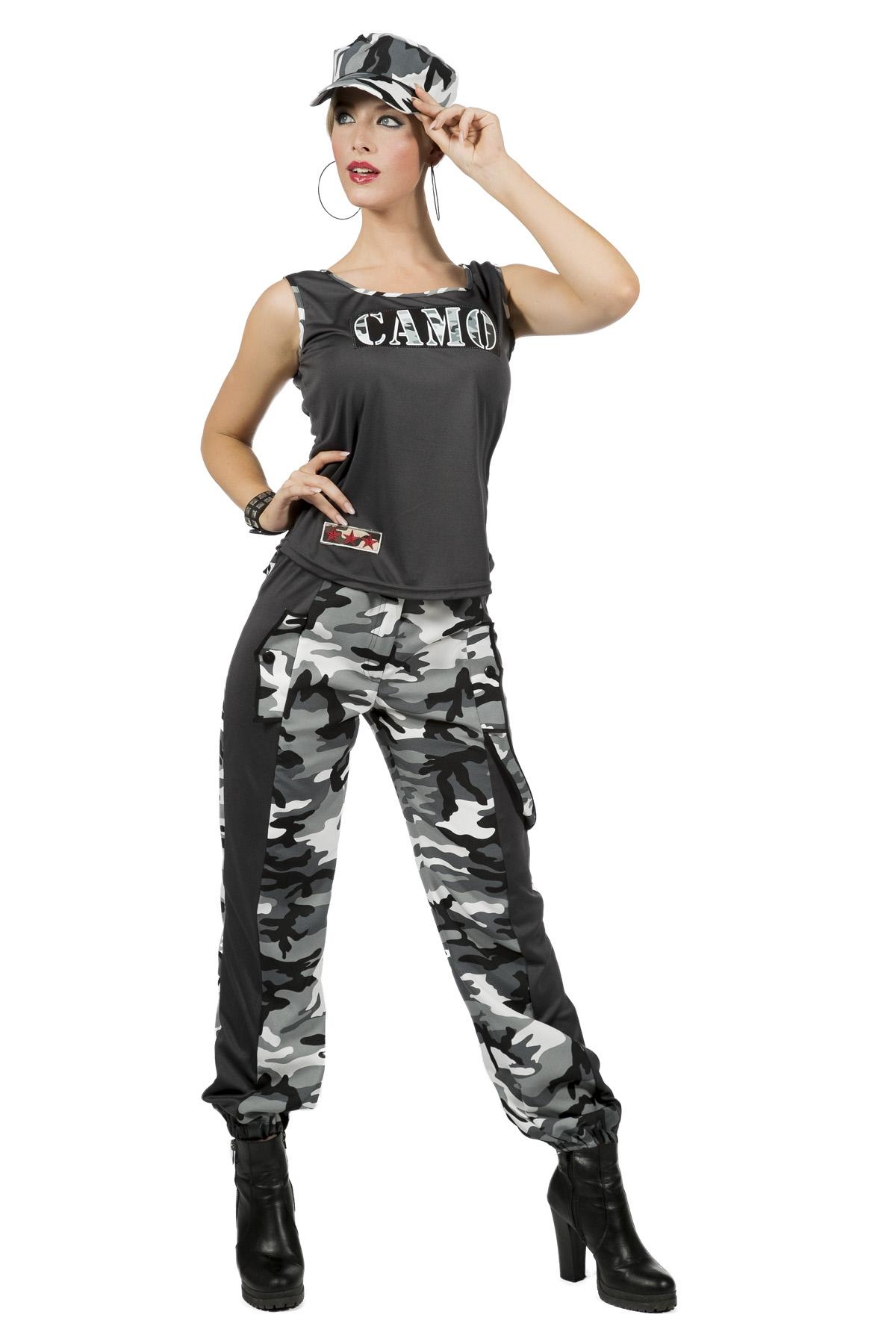 Camo Girl kostuum grijs