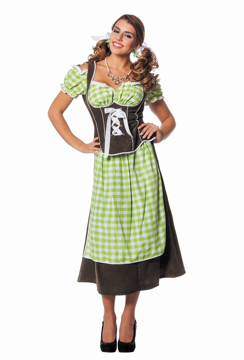 Tiroolse jurk Dirndl suedine groen voor dame