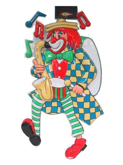 Decoratie clown met saxofoon 60cm