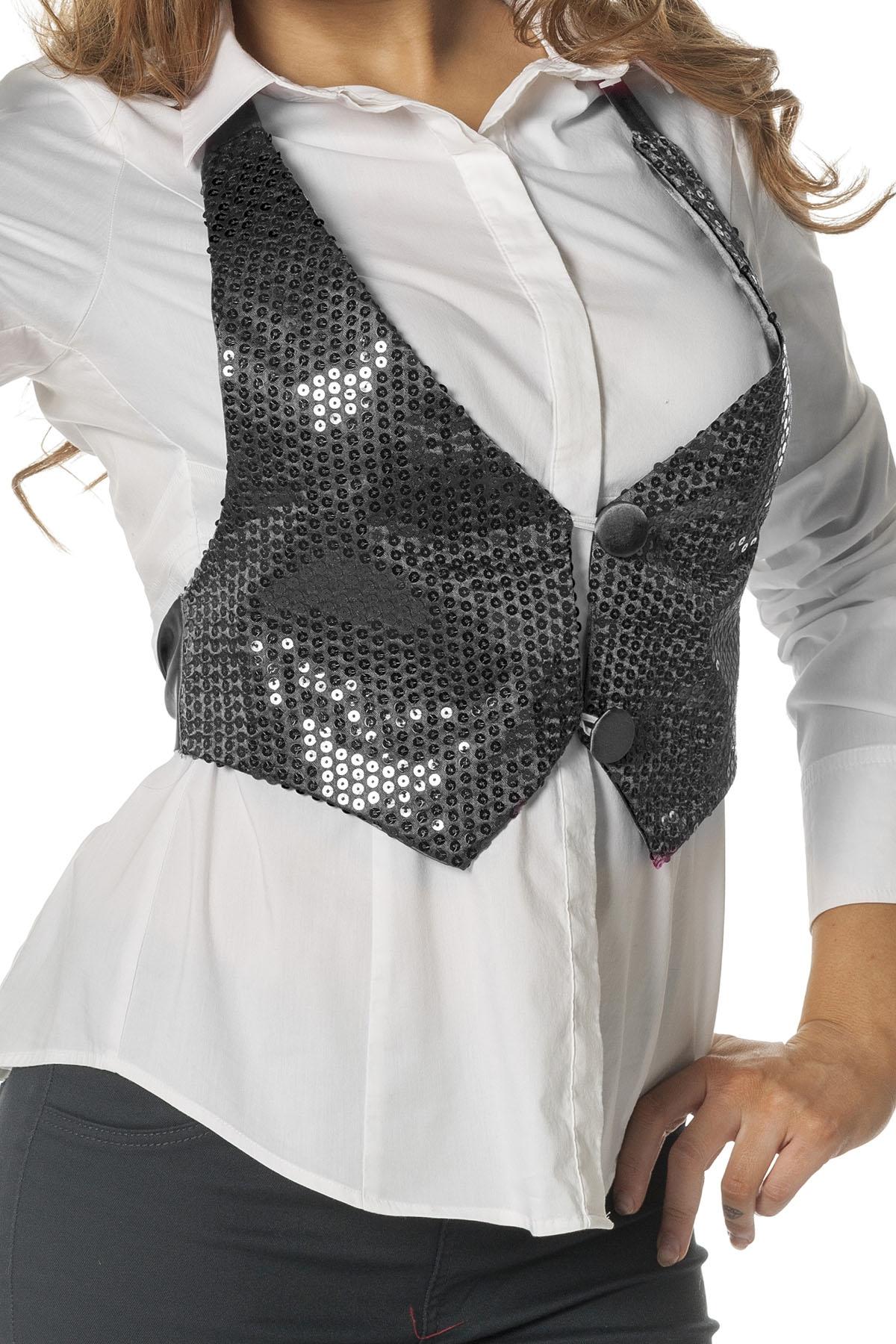 Zwart pailletten vestje voor dame