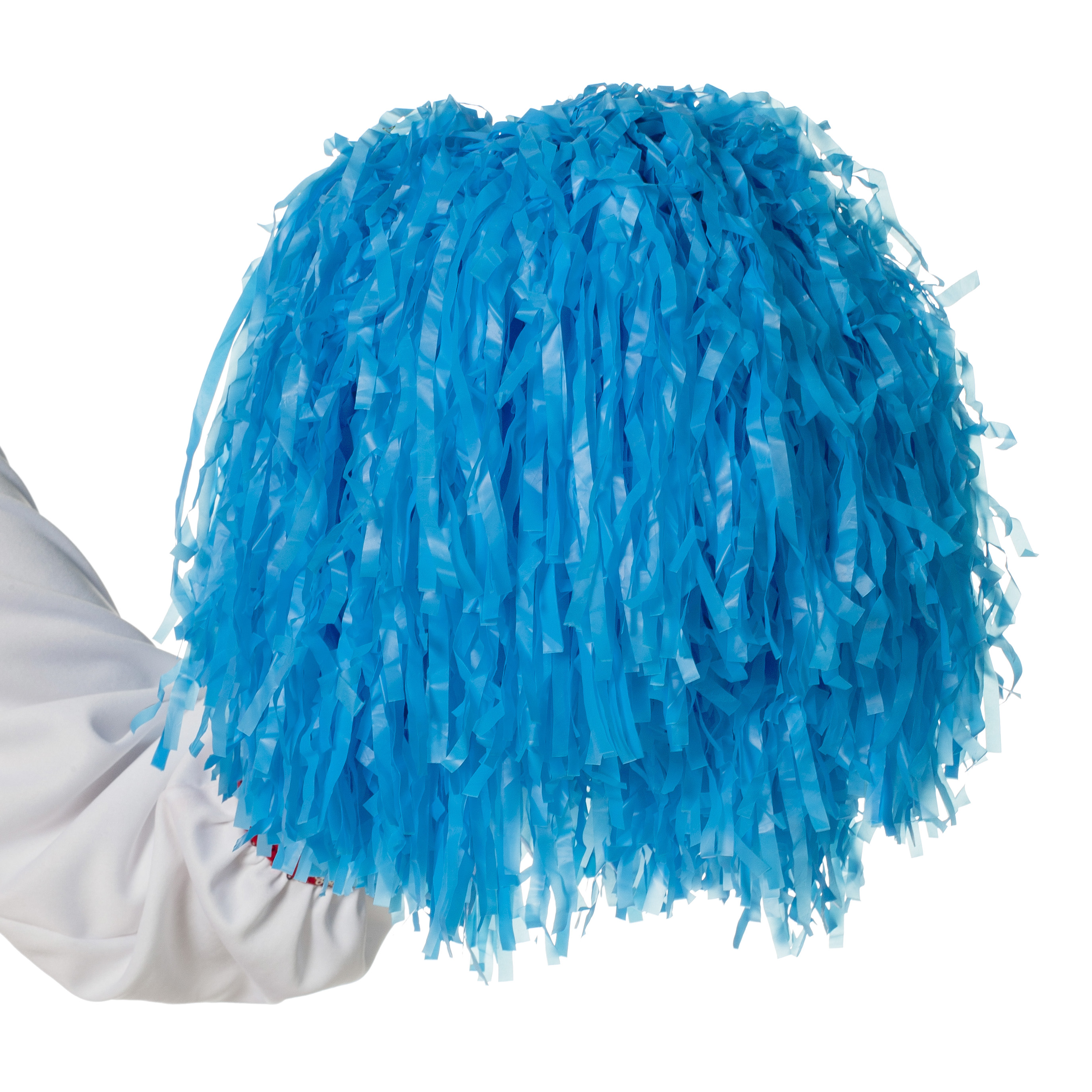 Cheerleader pompon blauw met ringgreep per stuk