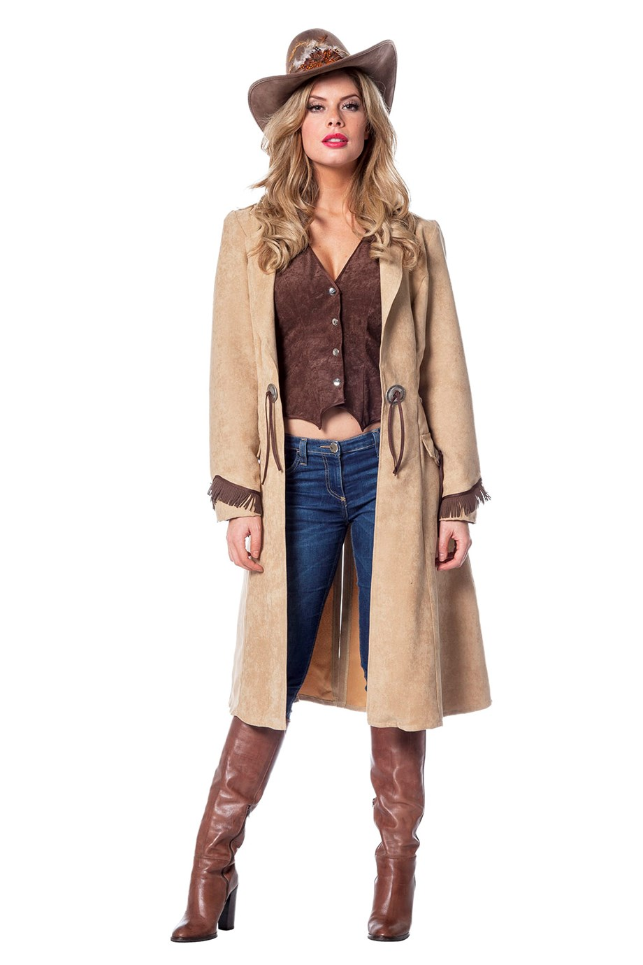 Cowgirl jas en gilet luxe voor dame