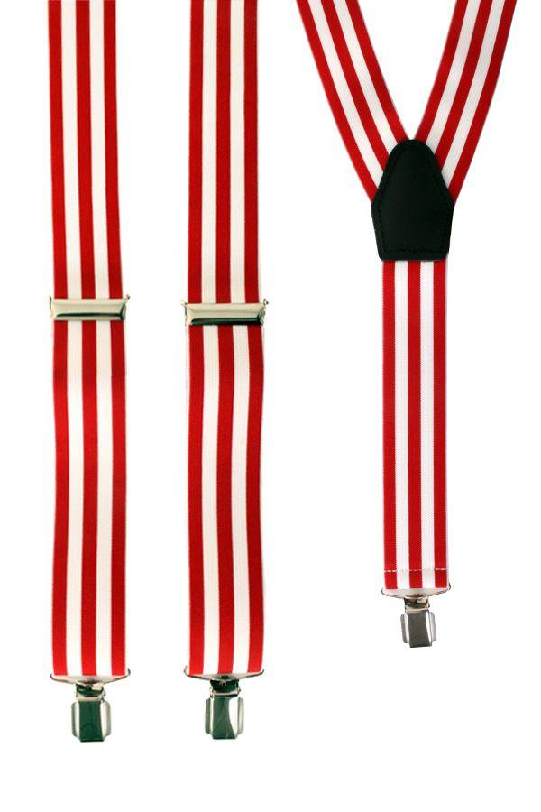 Bretels gestreept rood/wit