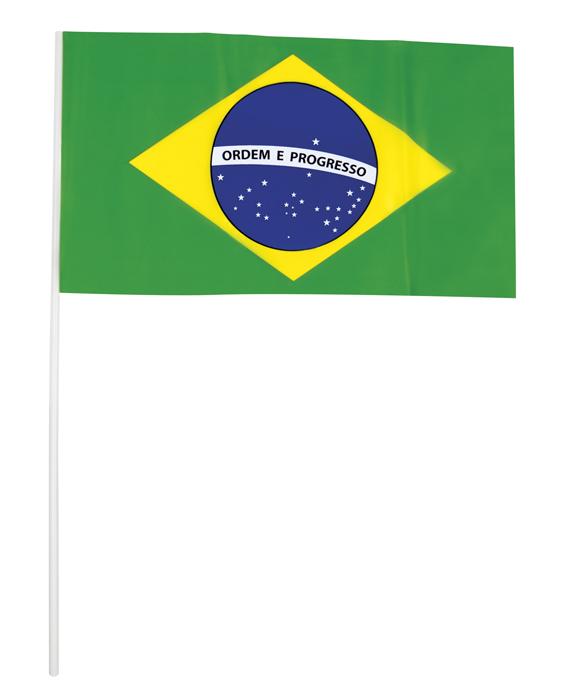 Set 20 PE zwaai vlaggetjes Brazilië (42 cm)
