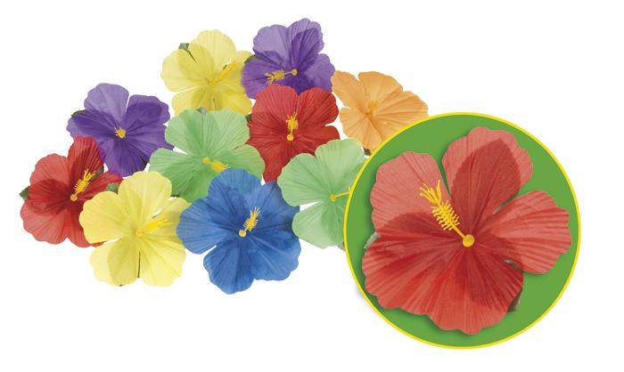 Set 24 Decoratie bloemen Hibiscus