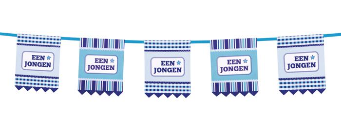 Kartonnen vlaggenlijn Een jongen dubbelzijdig (3 m)