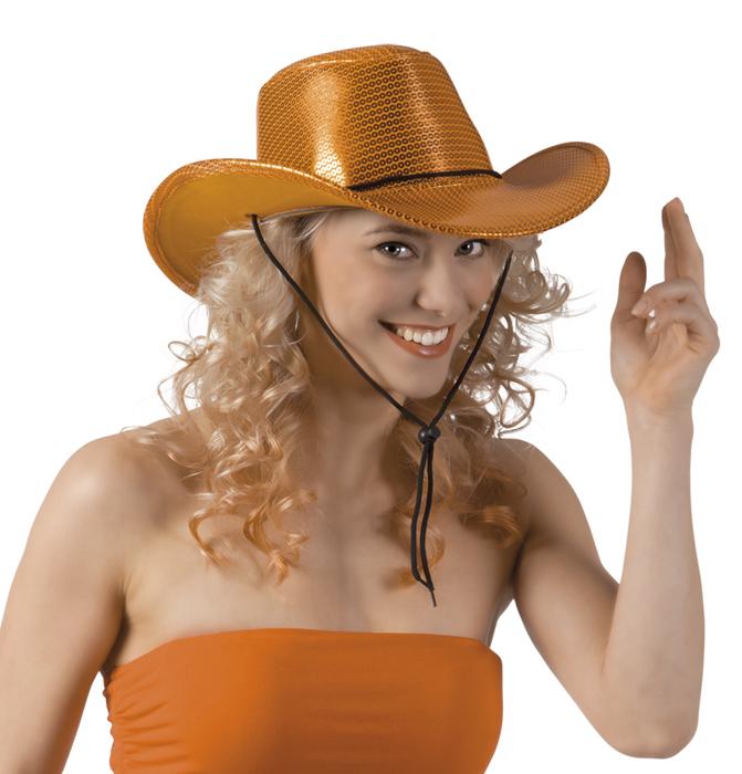 Cowboy hoed pailletten print oranje